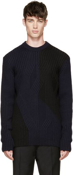 McQ Alexander McQueen Black & Blue Cable Knit Sweater