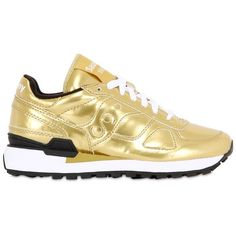 SAUCONY Shadow O' Metallic Leather Sneakers ($211) ❤ liked on Polyvore featuring shoes, sneakers, gold, leather sneakers, saucony footwear, saucony shoes, rubber sole shoes and genuine leather shoes