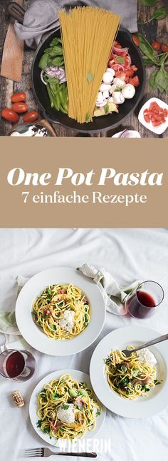 "One Pot Pasta: 7 Rezepte, die Sie ganz einfach nachmachen können Fast and easy! The new Trend One Pot Pasta is for ""lazy"" cooks who like to combine fresh ingredients and cook delicious noodles without much effort! Homemade Pasta, International Recipes, Pasta Dishes, Pasta Recipes, Food Inspiration, Kids Meals, Main Dishes, Clean Eating, Food Porn"
