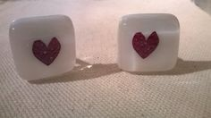 Fused glass cufflinks love hearts red and by Manyalittlemakes