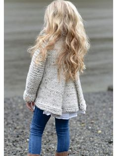 Beige Single Breasted Band Collar Fashion Cardigan Coat #Chic429047_Sum | Sumchic Baby Girl Cardigans, Girls Sweaters, Cardigan En Maille, Knit Cardigan, Cardigan Fashion, Knit Fashion, Mom Fashion, Girl Sleeves, Girls Blouse