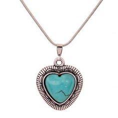Antique Finish Heart Shaped Turquoise Stone Necklace