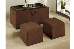 """3-Pcs Cocktail Ottoman in Brown by Poundex by Poundex. $165.00. Multi-Purpose/multi-functional. Contemporary Style. Brown Microfiber Fabric. This multi-purpose and multi-functional 3-piece cocktail ottoman set serves not only as an essential home decor piece, but as a server and a storage unit. Dimensions:Storage Coffee Table: 35"""" x 18"""" x 18""""HStool: 14"""" x 14"""" x 17""""H Some assembly may be required. Please see product details."""