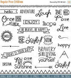 Etsy の LABOR DAY SALE Doodle Words Clipart Clip Art by PinkPueblo