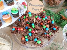 Eggs in a nest at a Dinosaur boy birthday party! See more party ideas at CatchMyParty.com!
