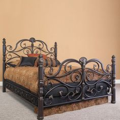 Shop Furniture and Home Decor at Carolina Rustica Steel Bed Design, Floating Bed Frame, Window Grill Design, Wrought Iron Beds, Iron Furniture, Woodworking Bed, Metal Beds, Dream Home Design, Bed Styling