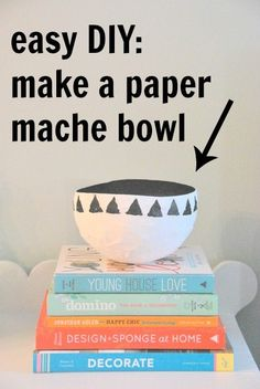 DIY paper mache bowl - the sweetest digs Paper Mache Bowls, Paper Mache Crafts, Craft Projects For Adults, Diy Craft Projects, Diy Crafts, Diy Gift Box, Paper Gift Box, Making Paper Mache, Diy Home Accessories