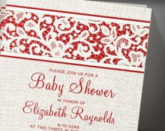 Red Rustic Burlap Baby Shower Invitation