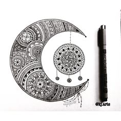 Just a repost of one my favourite drawings I did the moon with a dreamcatcher…