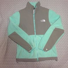 North Face Tiffany blue and gray North Face full zip Denali jacket! Womens xs. No staining or pilling. Great condition. North Face Tops Sweatshirts & Hoodies