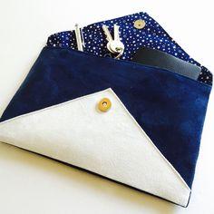 pochette de soire mariage bleu marine blanche en sudine glitter argent fait main - Pochette Mariage Ecru