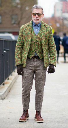 Nick Wooster in Camo Blazer + Split-Toe Moc Boot / #Fashion #StreetStyle