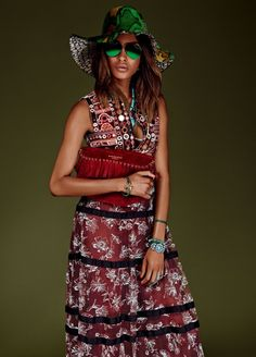 Jourdan Dunn wears bohemian style with fringed coat and red printed dress Pose for Vogue Japan Magazine January 2016 Photoshoot