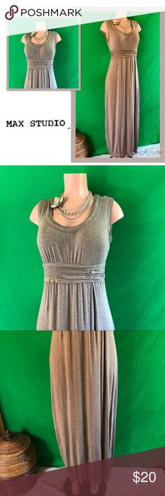 """MAX STUDIO Taupe Maxi Dress Distressed Edging LG Love this dress so much! It's a true bust enhancer and a really flattering cut. Size LG by Max Studio. Color is Taupe. It's too large on me now. Worn maybe twice. Ruffle and distressed edging. I am 5'5"""" and wore this with wedges, good length for me. Please ask any questions before purchasing, I ship daily! Max Studio Dresses Maxi"""