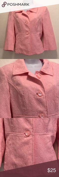 NWOT Pink Short Crop Jacket Never Worn, Single Breast, Button Down Front, Shoulder Pads, Lined, 2 Front Pockets. Cool Print, Nice. Georgiou Studio  Jackets & Coats Blazers