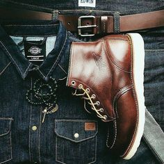 Red Wing Boots for Your All Day Activities Red Wing Boots, Gentleman Mode, Gentleman Style, Rugged Style, Style Men, Men's Style, Denim Boots, Denim Man, Leather Boots