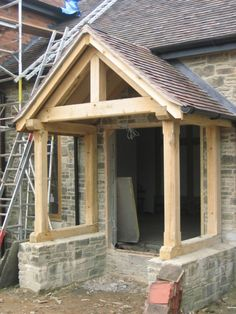 Oak Framed porch fitted and roofed onto a stone barn. House Front Porch, Front Porch Design, Cottage Porch, Cottage Exterior, Barn Conversion Exterior, Oak Framed Extensions, Cotswold House, Village House Design, Carport Designs