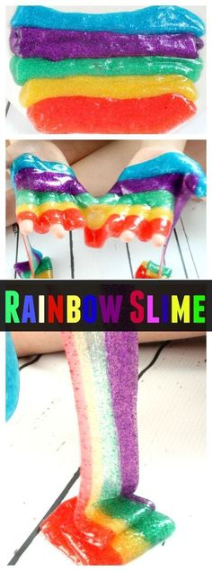 Rainbow Slime: How To Make Colored Slime That Sparkles. Make Slime with or without Borax. Gak Recipe.
