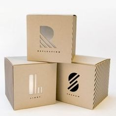 The style used in each of these boxes helps to relate them together in a series. The letters serve as actual type and a visual appeal. The geometric pattern inside the type matches the geometry of the actual package shape to unify them both.