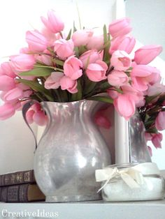 Spring Mantle I have that metal pitcher It's an antique from one of my hubby's grandmas. Gonna put a colorful bouquet in mine Deco Floral, Arte Floral, Pink Tulips, Pink Flowers, Exotic Flowers, Tropical Flowers, Yellow Flowers, Pink Roses, My Flower