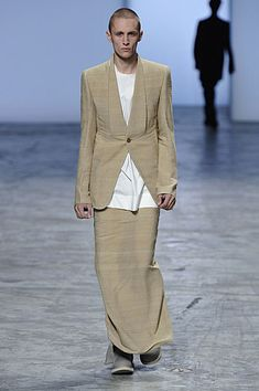 Rick Owens Spring/Summer 2012 A directional presentation of menswear. What it is and what it could be. Floor-length linen dresses and g...