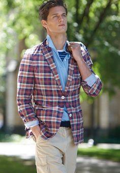 i will own a ridiculous plaid blazer eventually.  Plaid blazer over blue oxford custom dress shirt, the art of preppy.