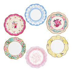 Delight your guests with these divine designs. Perfect for every occasion! Each pack contains 12 paper plates in 6 different designs Approx. diameter Shop our best selling Truly Scrumptious collection to complete the look! Tea Party Theme, Tea Party Birthday, Floral Paper Plates, Tea Party Baby Shower, Party Plates, Cake Plates, Barbie, Vintage Plates, China Patterns