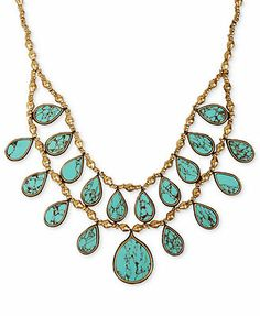 Lucky Brand Necklace, Gold-Tone Turquoise Two-Row Collar Necklace