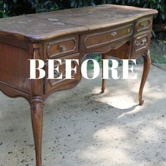 It feels like forever since I have done a proper furniture makeover, so I'm feeling very giddy with my latest project: a French Provincial vanity makeover! French Provincial Table, French Provincial Furniture, Antique Vanity Table, French Vanity, Painted Kitchen Tables, Asian Decor, Furniture Makeover, Dresser Makeovers, Redoing Furniture