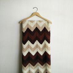 Vintage Brown Chevron Crochet Blanket