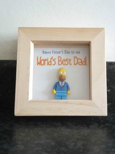 Fathers day - Framed Lego The Simpsons Series 2 Minifigure - Homer Simpson  GIFT