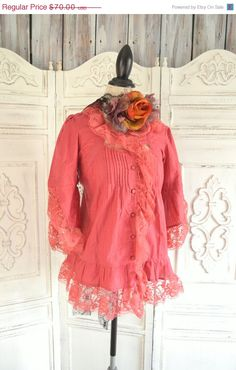 SALE Romantic summer tunic top, Shabby cottage chic clothes, Raspberry, Women's. Upcycled country chic, Sexy frenc lace, True rebel clothing