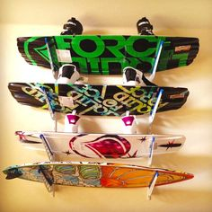 Do you have a place to store your wakeboards and wakesurf boards over the offseason?  Time to get a home storage rack. #wakeboardstorage #wakeboardrack #storeyourboard