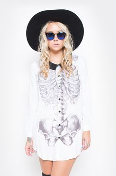 Iron Fist Ladies ♥ Creepers Dress   Be a creep, creep, creep. The oversized Creepers Dress with anatomical, floral skeleton design looks cute, cute, cute for any creature of the night. White Rayon button down shirt dress with black Peter-Pan Collar.  ♥ 100% Rayon ♥ Skeleton Print ♥ Long Sle...