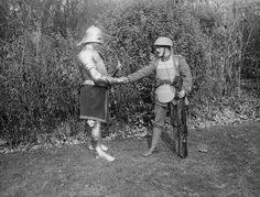 1917: soldier shakes hands with a fully armored soldier and an axe. First tried in battle in 1915 body armour was, used mainly on an individual basis as it never became a universal issue (armour was available to equip 2% of the army). There were 3 types of British armour: Rigid 'hard' armour (metal plates between fabric as a vest); Intermediate armour (small square plates of metal attached to a canvas support as a vest); Soft armour (layers of silk/cotton/tissue & linen scraps in fabric…