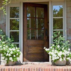 New rustic front door ideas entrance curb appeal Ideas Exterior Doors, Entry Doors, Entry Door With Sidelights, Front Door Porch, Front Entry, Front Porches, Brick Porch, Porch Entry, Front Door Side Windows