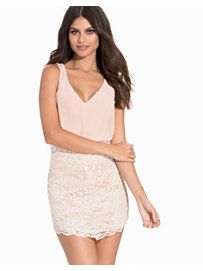 Chiffon Top Lace Dress - Nly One - White/Pink - Party Dresses - Clothing - Women - Nelly.com