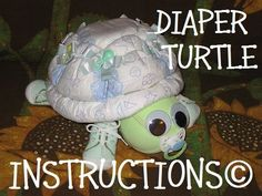 Learn how to make Scooter the Diaper Turtle. GR8 for baby nursery. Diaper cake keepsake. $5.99, via Etsy.