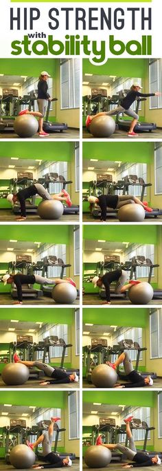 Fitness Improve Hip Strength with Stability Ball to prevent IT Band Syndrome and runner's knee - One of hte most common issues runners experience is knee pain, but it's often caused by weak or tight hips! Use these hip extension exercises Fitness Workouts, Hip Workout, Workout Videos, Fitness Tips, Fitness Motivation, Ball Workouts, Dumbbell Workout, Fitness Pilates, Prenatal Workout