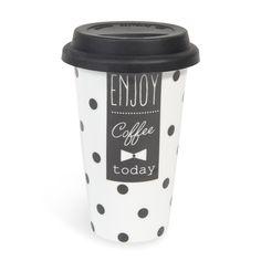 Mug de voyage � pois en porcelaine blanc/noir N�UD   - Vendu par 6