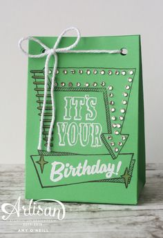 I've got a sneak peek for you today using the Marquee Messages stamp set, which will be available for purchase on June 1.  Here are two samples using Cucumber Crush: I made a card using spong…