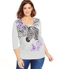 Karen Scott Zebra Graphic Scoop Neck Womens GRAY Top Plus Size 0X - $39 - NWT #KarenScott #Blouse #Casual