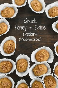 Honey & Spice Cookies (Melomakarona) Greek Honey & Spice Cookies (Melomakarona) - All the flavors of baklava, in a cookie. These amazing cookies stay fresh up to 2 weeks! Greek Sweets, Greek Desserts, Greek Recipes, Just Desserts, Greek Meals, Syrian Recipes, Greek Christmas, Christmas Baking, Tea Cakes