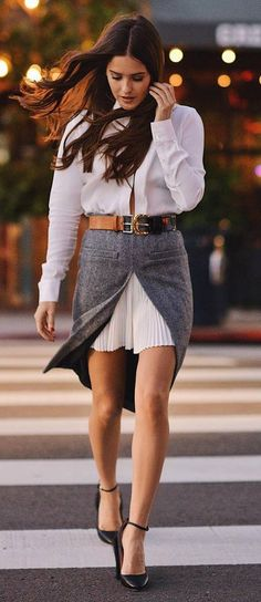 fashion trends / white shirt dress + grey skirt + heels