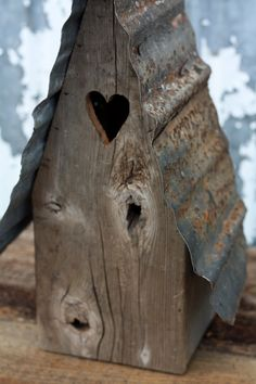 Reclaimed Wood Bird House With Steel Roof by PHickeyWoodDesigns, $45.00