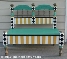 Headboard and Footboard made into a Bench - one of my favorite things to repurpose. This one is painted beautifully with fun graphics on the back.