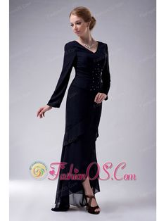 Populor Navy Blue Column V-neck Mother Of The Bride Dress High-low Chiffon Beading  http://www.fashionos.com  http://www.facebook.com/fashionos.us  What a elegant long dress! It is a long sleeves V neckline dress.The beadings and ruchings on the bodice enhance your temperament.The layered skirt makes the dress more sassy. A hidden zipper makes for easy off and on and secures the dress in place.