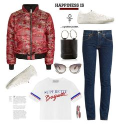 """""""Perfect Puffer Jackets"""" by hamaly ❤ liked on Polyvore featuring Topshop, RE/DONE, Être Cécile, Golden Goose, Miu Miu, L'Oréal Paris, outfit, ootd, jackets and puffers"""