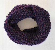 Knit Chunky Cowl Infinity Scarf - Purple by CrochetsWithCats on Etsy