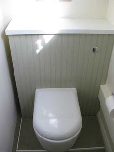 Tongue and groove concealed cistern Bathroom Vanity Tops, Ikea Bathroom, Bathroom Storage, Bathroom Ideas, Cloakroom Ideas, Downstairs Cloakroom, Downstairs Toilet, Small Toilet Room, Concealed Cistern